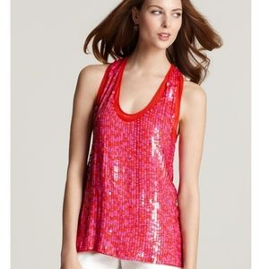 Theory Tank Top Red Purple Sequins …